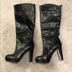 Tory Burch Black Leather Tall Boots Sz 10